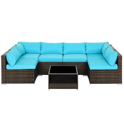 SONGMICS 7-Piece Patio Furniture Set, Outdoor Sectional Sofa Couch, Handwoven PE Wicker Rattan Patio...