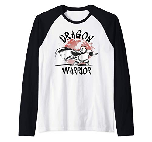 Kung Fu Panda Dragon Warrior Action Pose Portrait Camiseta Manga Raglan
