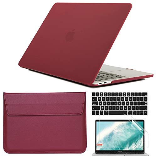 BlinkCat 4 in 1 Laptop Case for MacBook Pro 13' 2020-2016 Release A1706 A1708 A1989 A2159 A2289 A2251 A2338, Ultra Slim Plastic Hard Shell Matte Case with Screen Protector & Laptop Sleeve - Wine Red