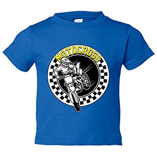 Camiseta niño Motocross carrera - Azul Royal, 12-14 años