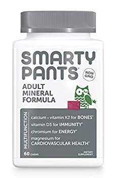 SmartyPants Adult Daily Mineral Vitamins  Calcium Magnesium Citrate D3 Zinc & Chromium for Immune Support Energy Bone & Muscle Function 60 Soft Chews  30 Day Supply
