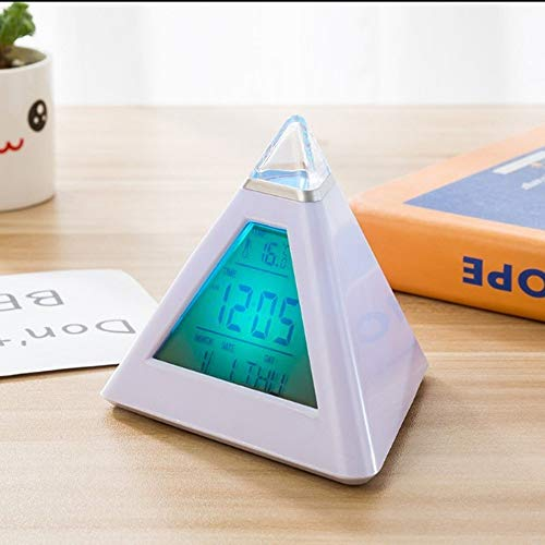 Andere Appliance LED Piramide Kleurrijke Backlight digitale klok met temperatuur Perpetual Calendar Wekkers Triangle Bell Home Kitchen supplies