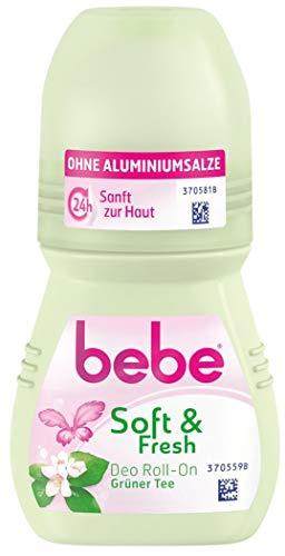 bebe soft & fresh deo Roll On Grüner Tee - Sanfter Deo Roller ohne Aluminium, mit frischem Duft von grünem Tee - 24 h zuverlässiger Schutz vor Körpergerüchen - 1 x 50ml