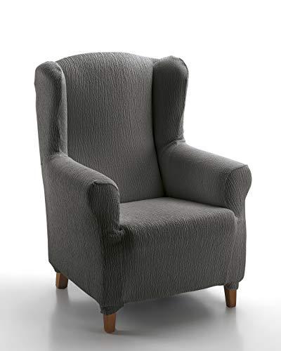 Textil-home Stretchhusse für Ohrensessel Marian, Elastisch Bezug für Fernsehsessel Liege - 1 Sitzer - 70 a 100Cm. Farbe Schwarz
