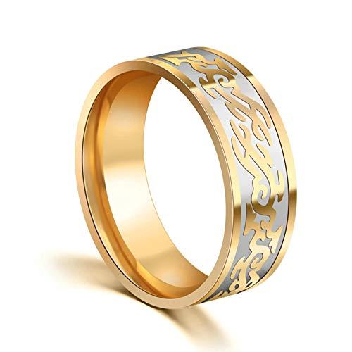 AieniD Anillos De Acero Inoxidable para Mujer Anillo con Patrón De Dragón Dorado De 8 MM Oro para Hombres