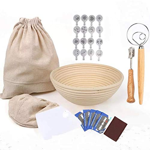 9 inch Banneton Bread Proofing Basket Kit 27 Pieces, Sourdough Bread, Danish Dough Whisk, Lame Bread Tool, Bread Making Supplies, Baking Kit, Scoring Knife, Bread Starter Kit,16 Stencils & Liner