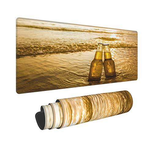 YOLIKA Extra Grande Alfombrilla de Ratón,XL-75 x 40 x 0.3cm,Gradiente Amarillo Amor Botellas Cerveza en la Playa Hora del Atardecer Alcohol Comida Bebida P,para el Trabajo Juego Computadora Portátil