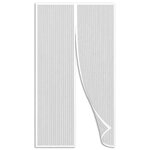 Aibingbao Mosquitera Puertas 80x220cm(31x87inch) Fácil de ensamblar Puerta Mosquitera Magnética Se Cierra Magnéticamente al Instante para Puertas Cortina de Sala de Estar la Puerta, Blanco