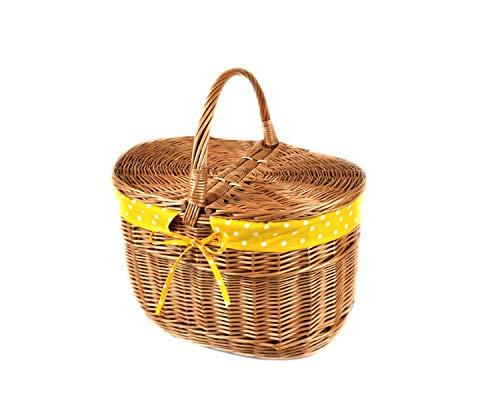 MyBer® mand picknickmand draagmand met 2 deksels rieten mand volledig wilgenmand gevlochten boodschappenmand K12-027-SGEW