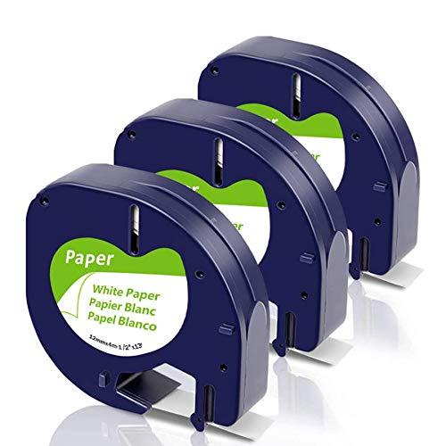 Fimax Compatible LetraTag Etiquetas de Paper Reemplazar para Dymo Cinta Letratag Paper White 12mm S0721510 para Dymo Letratag LT 100T S0758380 LT-100T Plus LT-100H Impresora LT100-H