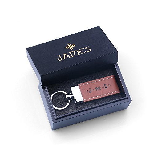 Personalized Tan Leather Keychain with Black Wood Gift Box - Free Custom Engraving - Best Gifts for Dad, Father, Boyfriend, Groomsmen (Tan Keyring with Black Box)