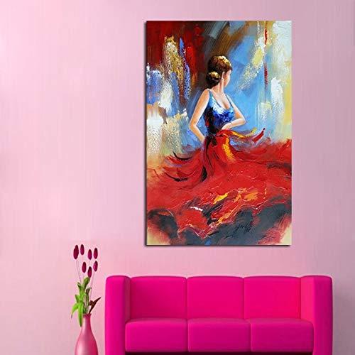 wZUN Pintura al óleo Abstracta Arte de la Pared Bailarina Lienzo Pintura Obra de Arte Mejor Regalo decoración de la Pared de la Sala de Estar 40x60 Sin Marco
