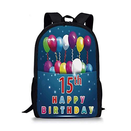 AOOEDM Backpack Elegante Bolso Escolar con decoración de 15 cumpleaños, Globos temáticos de Fiesta Sorpresa para Ocasiones Festivas y Cintas rizadas para niños, 11