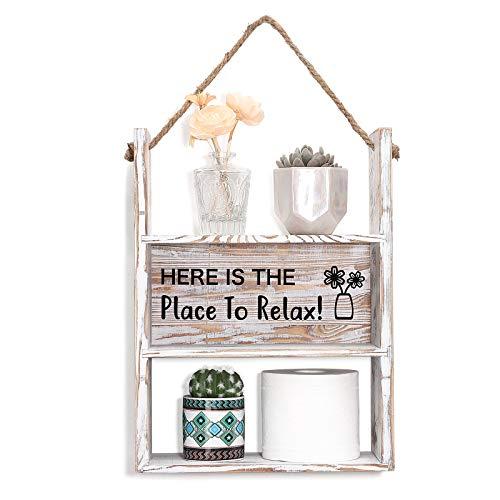 Shinowa Estantería de Pared de Madera Rústica, Multi-Uso Estante Colgante Decorativo Soporte de Pared Organizador de Toalla de Papel Higiénico para Sala de Estar, Baño, Cocina, Dormitorio - Blanco