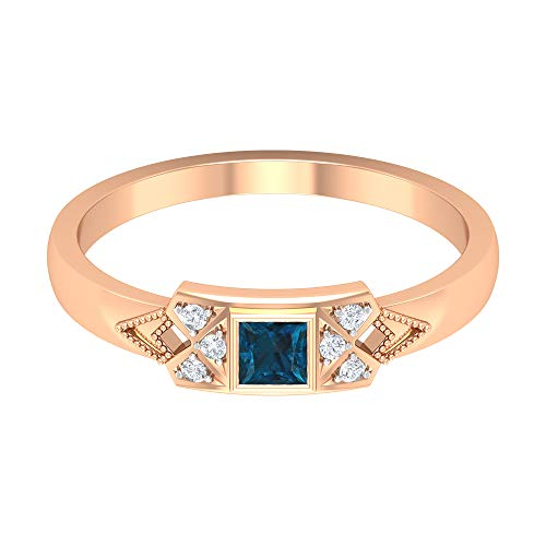 Rosec Jewels 14 quilates oro rosa round-brilliant-shape princess-shape H-I Blue Diamond Topacio azul - Londres