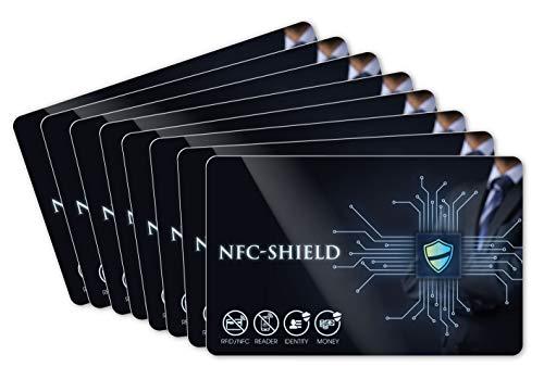8X NFC Shield Card - RFID & NFC Schutz/Blocker - Made in Germany - Schützt Das gesamte Portmonnaie & Kartenetui mit Ihren EC und Kreditkarten - Nie Wieder RFID Schutzhüllen notwendig