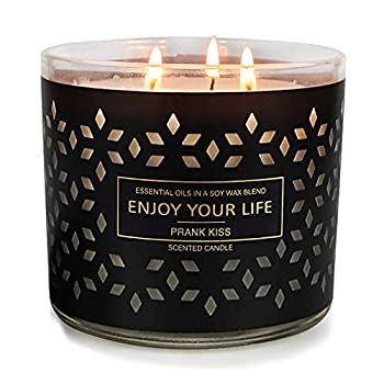 Large Jar Candles for Home Scented 3 Wick Barn Candles Stress Relief Aromatherapy Candle Gifts for Women Soy Wax 14.6 Ounce 125 Hours  Prank Kiss