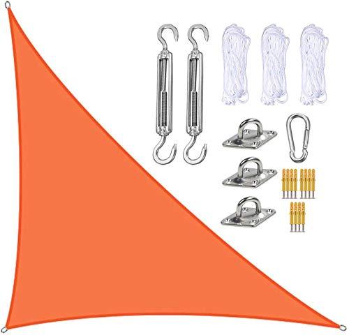 QDY -Toldo De Protección Solar De Tela Oxford Impermeable De Triángulo Recto De 3 X 4 X 5 M con Kit De Fijación, Toldo De Protección Solar para Jardín Al Aire Libre, Patio, Patio,6 Orange