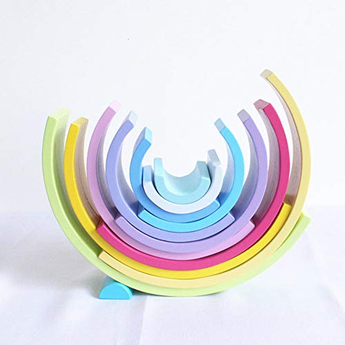 Ocamo - Juego de 12 Piezas de apiladores de arcoíris, Rompecabezas de Madera, Bloques de construcción creativos