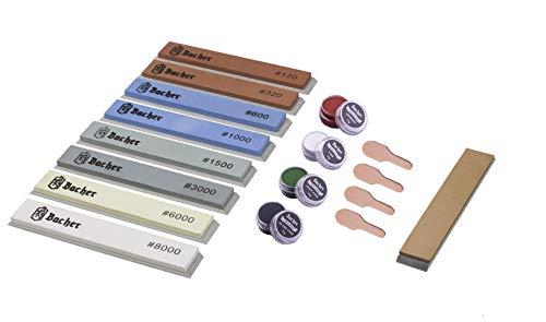 BACHER Pietra per affilatura di coltelli con corindone – set di 8 pietre # 120 - # 8000 + coramella in cuoio per sistemi di affilatura ad angolo fisso, Ruixin e KKmoon