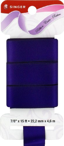Singer Solid Satin Ribbon, 7/8-Inch by 15-Feet, Grape Soda Purple by Singer