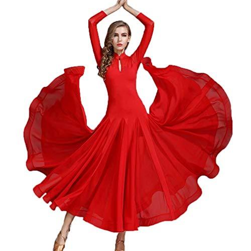 Fhxr Standard-Tanzkleid Eleganter Rock Walzer Tango Bühne Leistungskleidung Wassertropfen Kragen Sozial Kleid Dünne Langärmlige Nationale (Color : Red, Size : S)