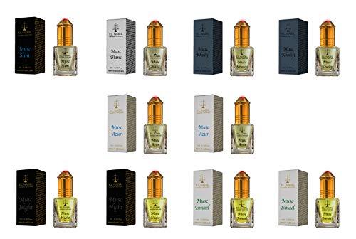 Herren Duftset - 10x 5ml Parfum (FEIN & MASKULIN) - El Nabil Misk Musk Moschus - Parfüm Öl für Mann - Hochwertig & Top Herren Düfte - Scent Attar Adn Al Rehab Karamat Al Haramain