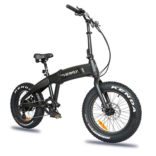 Overfly Electric Folding Bike 48V Bafang 500W Motor 7 Speed 10.4Ah Battery Electric Commuter Bicycle Ebike with 20''4.0 Fat Tire (Hummer)