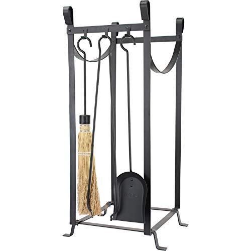 Fireplace Log Rack with 4 Pcs Fireplace Tools Sets Firewood Holders Lumber Storage Stacking Black Wrought Iron Logs Bin Holder for Fireplace Tool