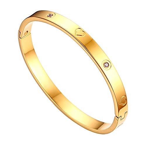 JewelryWe Schmuck Damen Armreif Edelstahl Zirkonia Herz Prägung Armband 6mm breit mit Schließe Armspange Gravur Gold