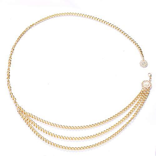 YouU Cadena de Cuerpo de Cadena de Cintura de Metal Multicapa para Mujer Cinturón de Cintura de Oro Colgante Cadena de Vientre Arnés de Cuerpo Ajustable para Vestidos de Jeans, Dorado