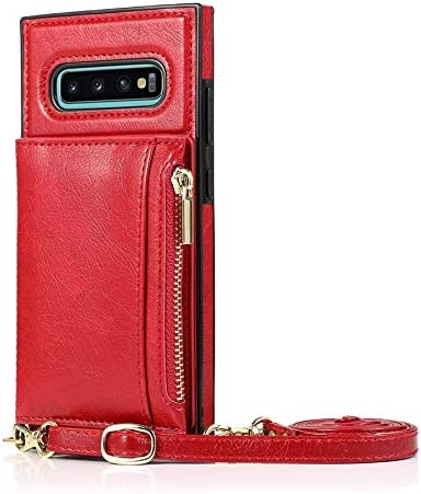 Happy-L Case for Samsung Galaxy S10E, Zipper Wallet Case with Credit Card Holder/Crossbody Long Lanyard, Shockproof Leather TPU Case Cover (Color : Red)