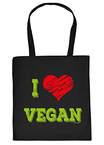 Veganer Griller Tasche Grillzubehör Tragetasche Grill : I Love Vegan - Vegan Sprüche Baumwolltasche Grillen -Farbe: schwarz