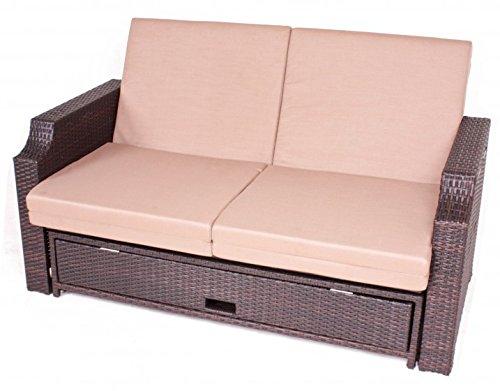 Luxus Multifunktionssofa, verstellbar, Ablagetische, Schublade für Kissen, inkl. Auflagen, Poly-Rattan mocca