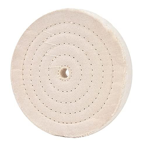 """Rueda de pulido de 8 pulgadas Rueda de pulido cosida en espiral (70 capas) con orificio de eje de 5/8 """"para herramientas de amoladora de banco 1 paquete"""