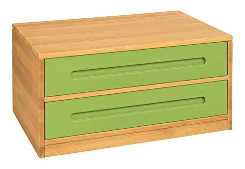 BioKinder Lina Sideboard Bettkasten Kommode mit 2 Schubladen aus Massivholz Erle und Kiefer 80 x 55 x 40 cm, Schubladen grün lasiert