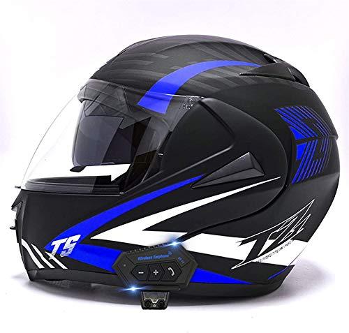 Feeyond Casco Integral Casco De Motocicleta Bluetooth Casco De Motocicleta con Tapa Frontal Casco Modular Anticolisión De Motocicleta Casco De Motocicleta Aprobado por Dot/ECE,Azul,M=(57 58cm)