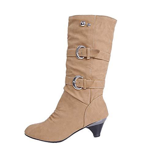 ZODOF Zapatos Casual Mujer tacón bajo Cabeza Redondo Antideslizante Cinturón Hebilla Copa Tubo Medio Comfortale Hembra Ma Dingxue
