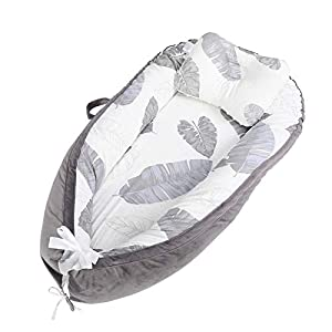 Cosleeping Cotton Baby Bed Lounger with Small Pillow, 2 Sides Portable Newborn Crib, Soft and Breathable Infant Bassinet, All-Round Protection, Suitable from 0-24 Months
