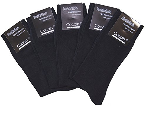cocain 10 Paar Herren Socken, schwarze Anzugssocke, 100% Baumwolle, Marke, Markenware Gr. 43/46
