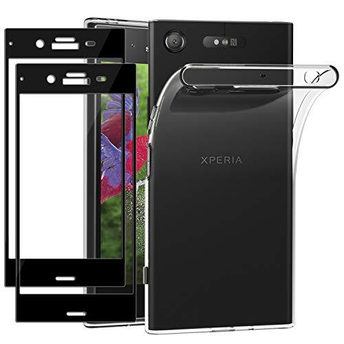 ivoler Funda para Sony Xperia XZ1 + 2 Unidades [Cobertura Completa] Cristal Templado, Transparente TPU Silicona Carcasa Caso + Vidrio Templado Protector de Pantalla para Sony Xperia XZ1