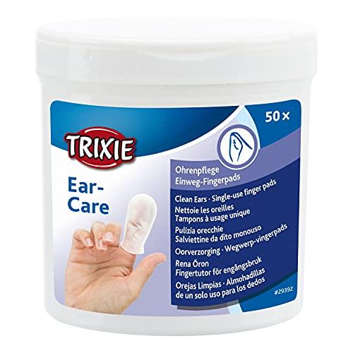 TRIXIE Tr-29392 Doigtiers de Soin Oreilles pour Animaux pour Chien 50 Pièces