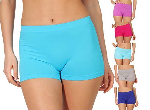 simaranda 6er Pack Damen Slips Seamless Unterwäsche Panty Boxershorts Unterhose Microfaser 20 (M/L, Farbig)