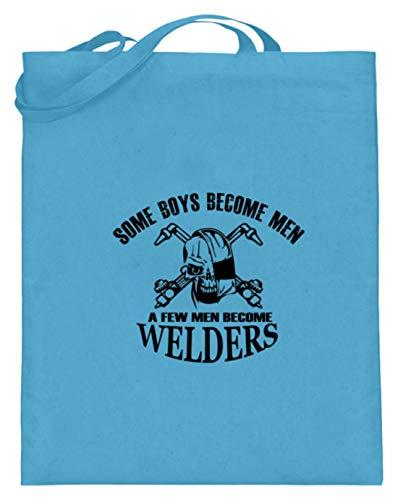 Algunos niños se convertirán en hombres, otros serán soldadores - Diseño sencillo y divertido - Bolsa de yute (con asas largas)., color Azul, talla 38cm-42cm