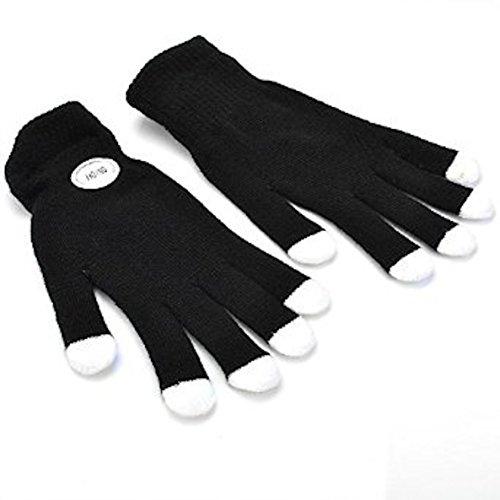 Magische 7-Modi-bunte LED-Handschuhe für Rave Light Fingerbeleuchtung blinkende Handschuhe Unisex – 1 Paar, - Schwarz mit weißer Spitze Erwachsenengröße - Größe: Medium/Large