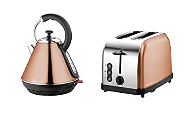 Electric Kettle & Toaster Set, Stainless Steel - Copper Colour Kettle & Toaster