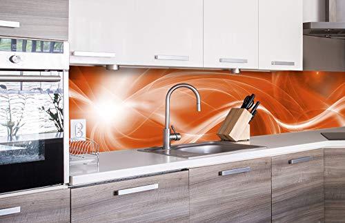 DIMEX LINE Küchenrückwand Folie selbstklebend ABSTRAKTE MALEREI IN ORANGE | Klebefolie - Dekofolie - Spritzschutz für Küche | Premium QUALITÄT - Made in EU | 260 cm x 60 cm