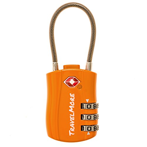 TSA Approved Travel Combination Cable Luggage Locks for Suitcases & Backpacks - 1 Pack of Orange TSA Lock
