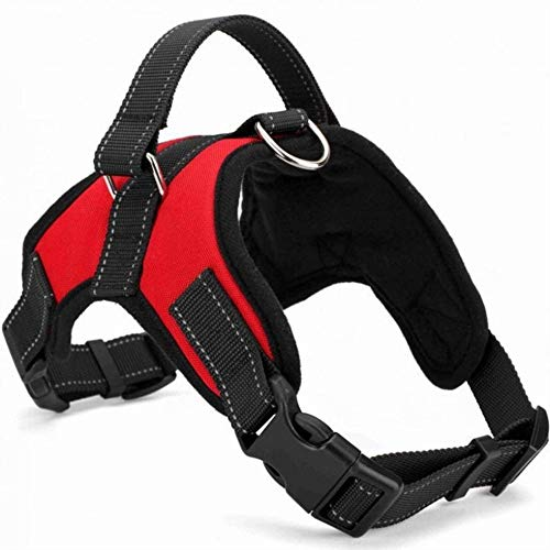 No Pull Dog Harness Reflective Adjustable Vest with a Training Handle, Easy to Put on & Take Off Suit for Dogs Large Medium Small Sizes (L,Red)