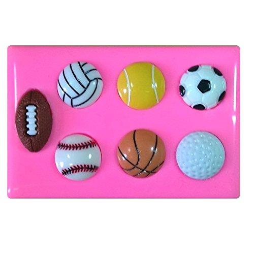 Sport Bälle Fußball Fußball Rugby Tennis Golf Basketball Baseball Silikonform Form für Kuchen dekorieren KUCHEN, Cupcake Topper Zuckerguss Sugarcraft von Fairie, Blessings